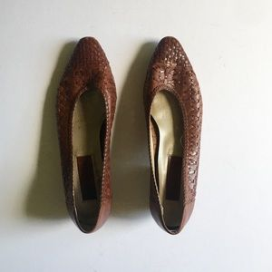 Vintage Ipanema Woven Leather Loafer Heels Brown 9
